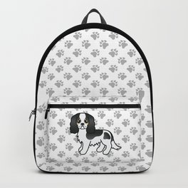 Cute Tricolor Cavalier King Charles Spaniel Dog Cartoon Illustration Backpack
