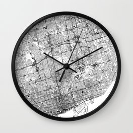 Toronto White Map Wall Clock