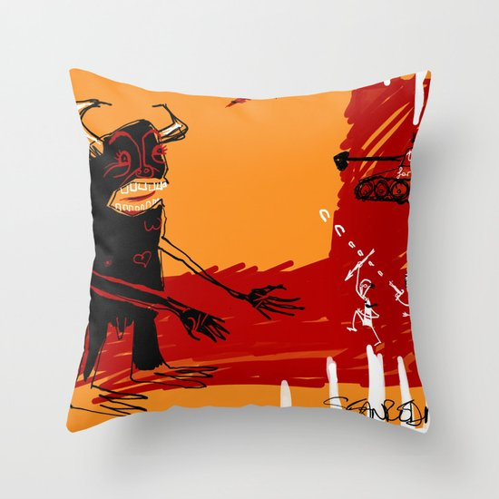 defeating the black monster Throw Pillow