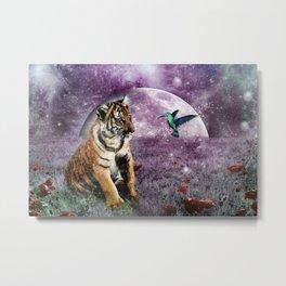 Tiger and Hummingbird Metal Print