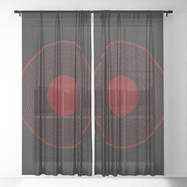 Red Record Circle Design Sheer Curtain