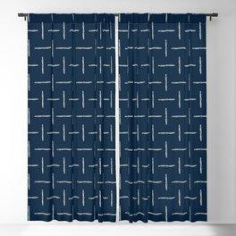 Airplane Propeller Blueprint Design white on blue Blackout Curtain