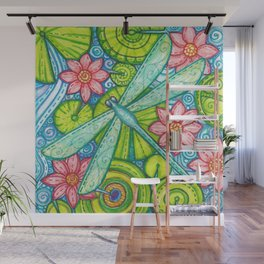 Dragonfly By Wall Mural