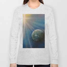 Sun Cross Earth Space Spray Paint Long Sleeve T-shirt