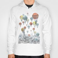 new york map Hoodies featuring Voyages over Edinburgh by David Fleck