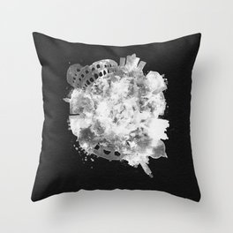 Rome, Italy Black and White Skyround / Skyline Watercolor Painting (Inverted Version) Throw Pillow