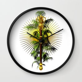 growing power, royal scepter with palm tree in front of aureole Wall Clock