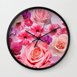 pretty and happy pink flowers Wall Clock