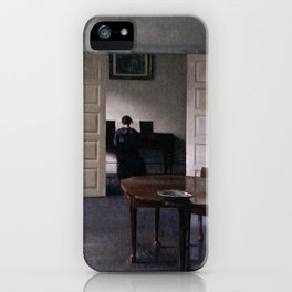 Interior with Ida playing the Piano by Vilhelm Hammershøi - Norwegian Fine Art - Hammershoi iPhone Case