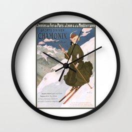 1905 Chamonix France Winter Sports Travel Poster Wall Clock