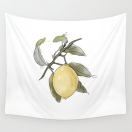 Original Lemon Watercolor Painting, Fruit watercolor Wall Tapestry