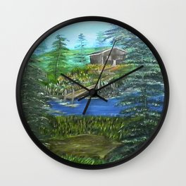 Cabin Hideaway Oil on Canvas Wall Clock