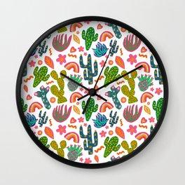 Colorful Cactus/Happy Cactus/Rainbow Cactus/Cactus painting/Cactus Patterns Wall Clock