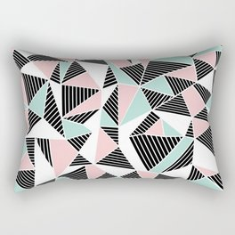 AbLines with Blush Mint Blocks Rectangular Pillow
