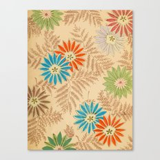Japanese Vintage Flowers Pattern Canvas Print