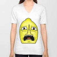 lemongrab V-neck T-shirts featuring LEMONGRAAAAAB by alexSHARKE