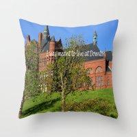 downton abbey Throw Pillows featuring Downton Desire by Nonna Originals