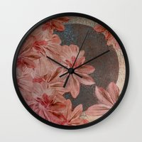 leah flores Wall Clocks featuring Flores by MACACOSS