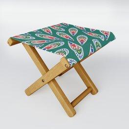 Green African Pattern Folding Stool