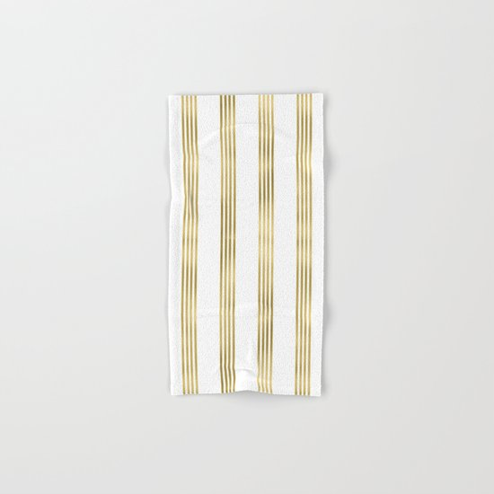 Gold small stripes on clear white - vertical pattern Hand & Bath Towel