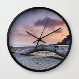Half Moon Beach. Red sky Wall Clock