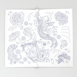 Japanese Tattoo Throw Blanket