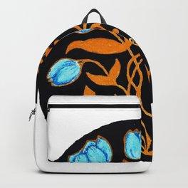 Blue Gold Stemmed Wildflowers Circular Design Backpack