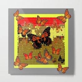 Abstracted Black & Orange Monarch Butterflies Red Metal Print