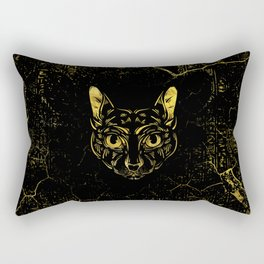 Black and Gold Sphynx Cat on Grunge Egypitan background Rectangular Pillow