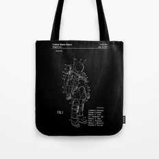 NASA Space Suit Patent - White on Black Tote Bag