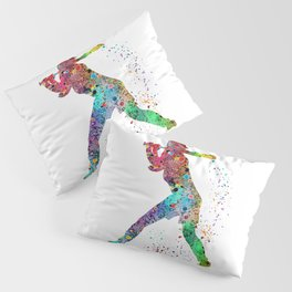 Baseball Softball Player Sports Art Print Watercolor Print Girl's softball Pillow Sham
