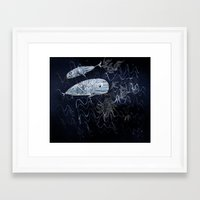 whales Framed Art Prints featuring whales by Bunny Noir