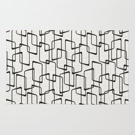 Black Retro Rounded Rectangles Geometric Pattern Rug