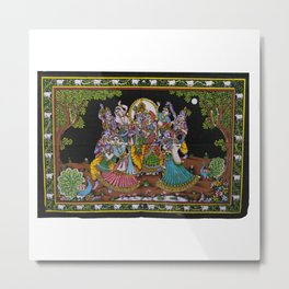 Lord Krishna & Radha Sequin Sitara Batik Wall Tapestry Metal Print