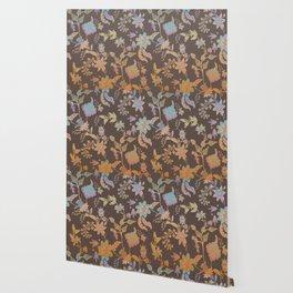 Chateau Brown Chinoiserie Decorative Floral Motif Chintz Wallpaper