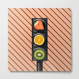 Fruity Traffic Lights Metal Print