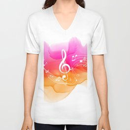 Watercolor, Musical Notes, watercolor t-shirt, watercolor sticker Unisex V-Neck