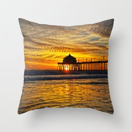 Huntington Beach Sunset  1/31/14  Throw Pillow