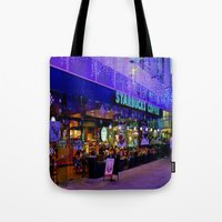 starbucks Tote Bags featuring Winter starbucks by Sjaefashion