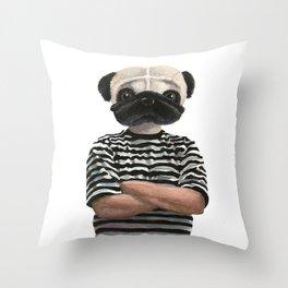 Pugsly Addams Throw Pillow