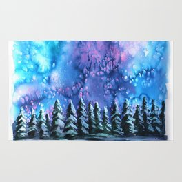 Watercolor Winter Pines under the Northern Lights Rug