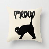 meow Throw Pillows featuring Meow by Florent Bodart / Speakerine