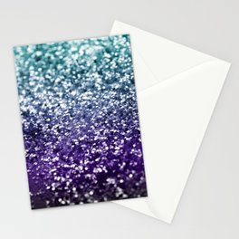 Aqua Purple Ombre Glitter #2 #decor #art #society6 Stationery Cards