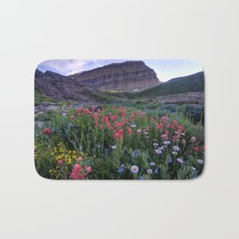 Mt. Timpanogos Wildflowers At Sunset Bath Mat