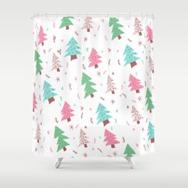 Modern pink green blue christmas tree snowflakes illustration pattern Shower Curtain