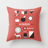 ouat Throw Pillows featuring OUAT - A Queen by Redel Bautista