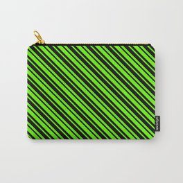 Bright Green and Black Diagonal LTR Var Size Stripes Carry-All Pouch