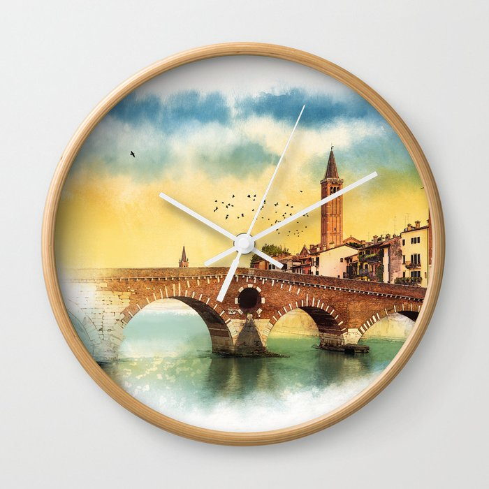 Bridge in Verona Wall Clock