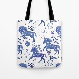 Delft Blue Horses Tote Bag