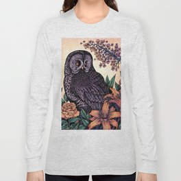 Great Grey Owl At Sunset Long Sleeve T-shirt